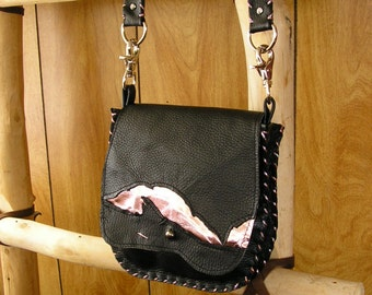 """Black and Metallic Pink Leather Purse, Cross-body Bag, whip-stitched, ball button, 44"""" removable leather strap, 7"""" x 7""""  x 1.5"""""""