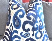 Blue Ikat Pillow Cover, Decorative Pillow, Throw Pillow, Designer Pillow, Toss Pillow, Blue and Taupe Pillow, Home Decor, Home Furnishing