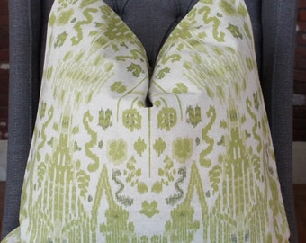 Green Ikat Pillow Cover, Decorative Pillow, Throw Pillow, Sofa Pillow, Toss Pillow, Green Pillow, Home Furnishing, Home Decor, Made in USA