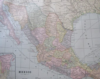 1891 Map- Mexico/South America/Central America- 3 Sided Atlas Page 21 x 14.5 in Great for Framing