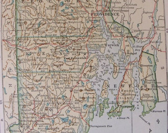 1932 Vintage Map of Rhode Island State Map Atlas Page 9 x 7 in Wall Hanging Paper Ephemera Rhode Island Atlas Map Wall Decor