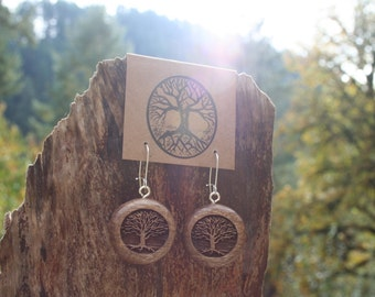 Wooden Tree Earrings- Sustainable Wood Jewelry- Oregon Myrtlewood Tree Earrings- Natural Wood Jewelry- Eco Earrings