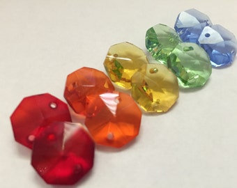 100- 14mm crystals - 2-hole Rainbow Collection