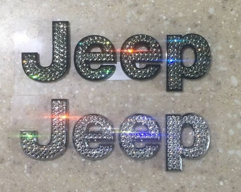 Jeep Chrome or Black Hood Emblem made with Swarovski Crystals  - Car Jewelry