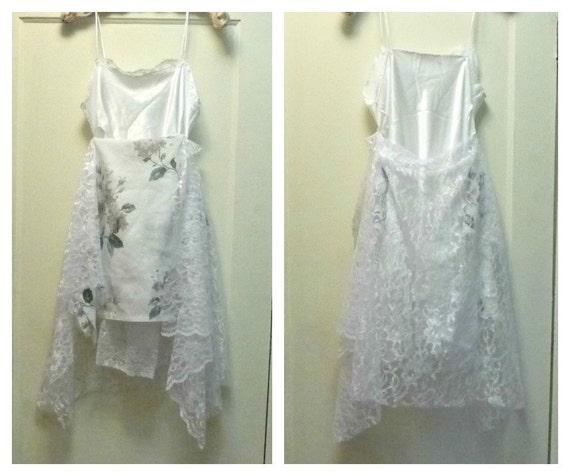 Greenery Slip Dress Lagenlook Short Wedding Medium 36