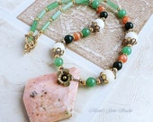 Pink Opal, Peach Moonstone, Green Aventurine, Bloodstone Necklace in Gold Brass, Floral