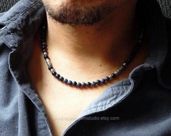 Men's Denim Blue Beaded Necklace, Dumortierite Stone Handmade Mens Jewelry, Navy Blue, Necklace for Men, Guys, Dad, Him