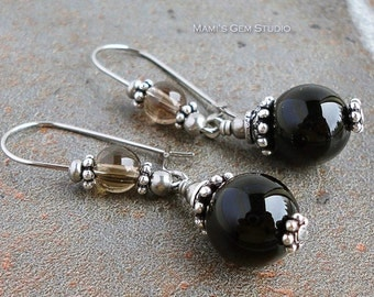 Black Onyx and Smoky Quartz Gemstone Earrings, Hypoallergenic Stainless Steel Kidney Earwires