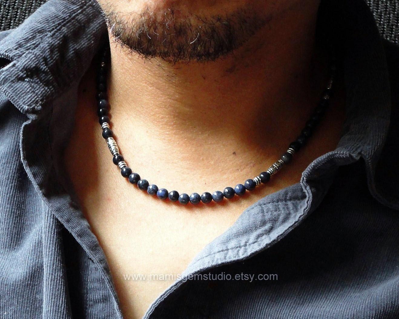 Men S Denim Blue Beaded Necklace Dumortierite Stone