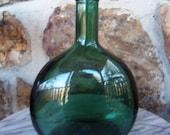 Oval Green Glass Bottle Vtg 80s Empty Wine Bottle