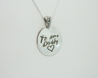 Handwriting Necklace Te Amo Sterling Silver Signature Jewelry