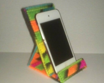 Handmade Cell Phone or Ipod Holder Plastic Canvas Blacklight Color