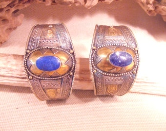 Tribal  Bracelets silver and brass cuff -- old Kuchi jewelry --Pair-- Lapis stones -- heavy patina FREE SHIPPING SALE