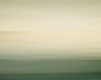 Lingering Light, green, sage, orange, white, coastal wall decor, surreal photo, zen photo, large giclee canvas, museum photo, sky photo