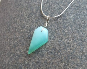 Chrysoprase pendant - misty green gem stone jewelry handmade in Australia