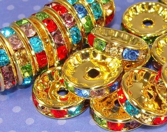 20 Gold Rhinestone Spacer Disc Beads 12mm Multi Colored Assorted (47135) Pave Rhinestone Gold Spacer Bead Jewelry Making Supplies Bulk Beads