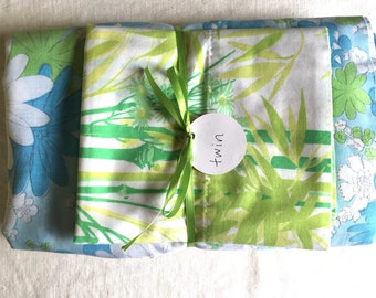 Vintage remixed twin sheet set in funky cool blues and greens /twin flat sheet / twin fitted sheet / vintage pillowcase