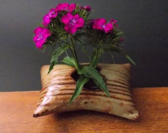 Clay Pillow Shaped Flower Vase ~ Burnt Orange Heart ~
