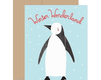Christmas Penguin Cards, Penguin Greeting Cards, Christmas Stationery, Xmas Greetings, Happy Holidays Cards, Xmas Novelty Cards