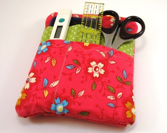 Nurse or Doctor Pocket Organizer With zipper- Coral Floral Print- Ready to ship