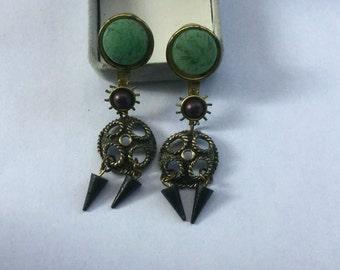 Vintage Modernist Green Stone Pearl Drop Earrings
