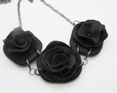 Handmade Three Black Flowers on Black Polymer Clay Flower Necklace