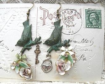 bird earrings assemblage enamel flower rose lock key upcycle