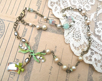 necklace lily of the valley assemblage muguet may spring cameo petite recycled vintage jewelry