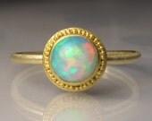 Opal Ring, 22k Gold Granulated Ethiopian Opal Ring