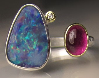 Opal and Pink Tourmaline Ring, Open Opal Ring, 18k Yellow Gold and Sterling Silver, Open Stone Cocktail Ring - size 7.25