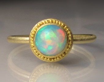 Opal Ring, 22k Gold Granulated Ethiopian Opal Ring