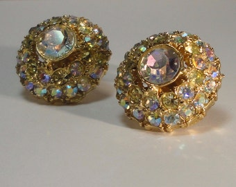 Gold tone with AB Rhinestones Dome shaped Earrings