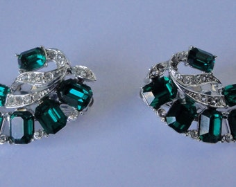 Silver tone with Emerald Cut and Color Crystal Vintage Earrings.