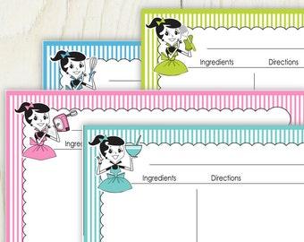 Retro Girl 4x6 Recipe Cards No 837a - editable recipe cards