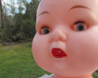 Vintage Large 18 Inch 1960 BABY DOLL Googly Eyes and Moving Tongue Original Outfit Kader