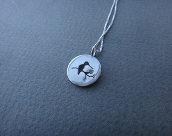 Small Sterling Silver Solo Perching Hummingbird Necklace