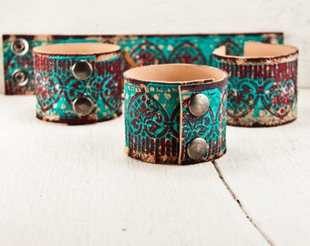 Turquoise Jewelry Leather Cuff - Women's Bracelet Wristband - Teal Southwest