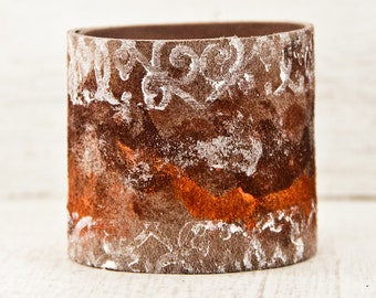 Leather Art Jewelry Bracelet Cuffs - Handmade Christmas Gift Idea - Red White Silver Orange - 2017 New Years Eve Sale