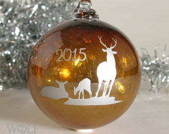 Blown Glass Christmas Ornament Amber Brown and Silver Deer Family 2015