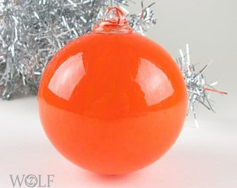 Blown Glass Ornament Bright Orange Christmas Ornament