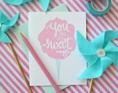 You make life sweet, cotton candy, summer, Thanks, Thank you, you're the best, Illustration, Notecards, Greeting Card, Handlettered