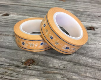 Washi Tape - 20mm - Floral - Terracotta and Navy - Deco Paper Tape No. 125