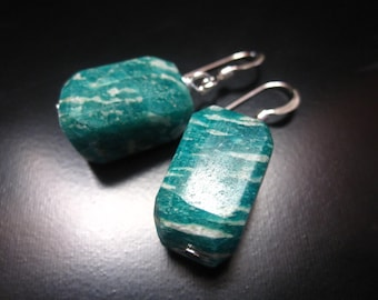 Russian Amazonite Earrings, Russian Amazonite Nuggets and Sterling Silver, Russian Amazonite Jewelry, Nugget Dangle Earrings, Green Earrings