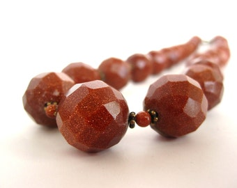 Faceted Goldstone Necklace, Big Round Faceted Goldstone Beads, Antique Brass Heishi, Goldstone Beads, Goldstone Necklace, Goldstone Jewelry