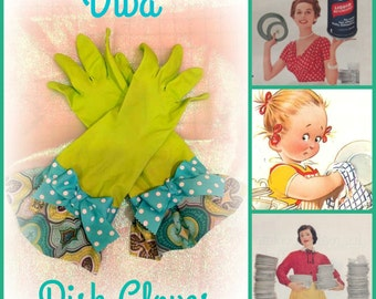 Retro Diva Glamour dish/cleaning gloves size large
