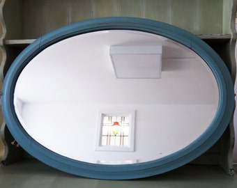 Beautiful large vintage oval mirror painted in Miss Mustard Seed Milk Paint