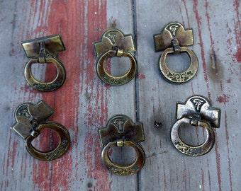 Set of Six Vintage round cupboard droplet cabinet knobs handles drawer pulls