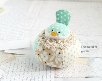Aqua Blue Cute Bird Pincushion Cotton Pin Cushion Bluebird Pin Keep