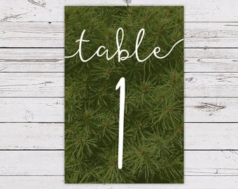 Printable Table Number Card - Evergreen