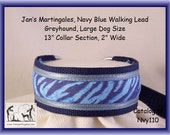 Jan's Martingales, Navy Blue Walking Lead, Collar and Lead Combination, Greyhound, Large Dog Size, Nvy110